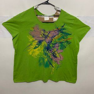 JMS Just My Size Womens Plus Size 5X Green Tee